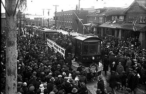 York, Toronto - Opening ceremony of the Rogers Road streetcar line by the Township of York in 1924