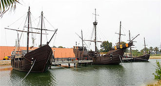 Iberian ship development, 1400–1600 - Replicas of Niña, Pinta and Santa María at Palos de la Frontera, Spain