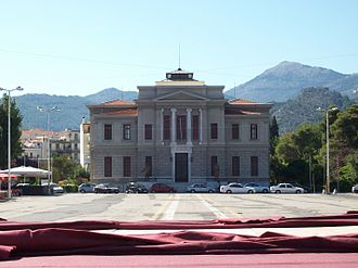 Tripoli, Greece - Central square with the Court House, designed by Ernst Ziller