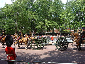 Ordnance QF 13-pounder - 13 pdr state saluting guns of the King's Troop, Royal Horse Artillery in the 2009 Trooping the Colour