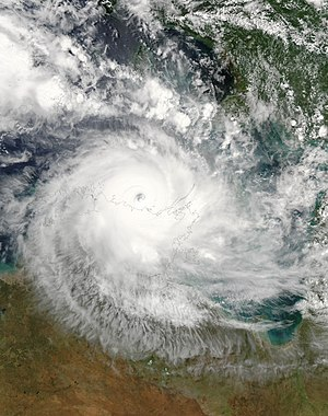 Cyclone Monica near peak intensity