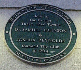 The Club (dining club) - Plaque marking the foundation of the Club