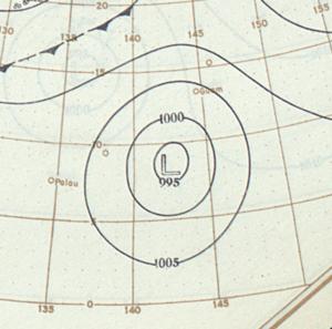 1900 Pacific typhoon season - Image: Typhoon surface analysis November 13 1900