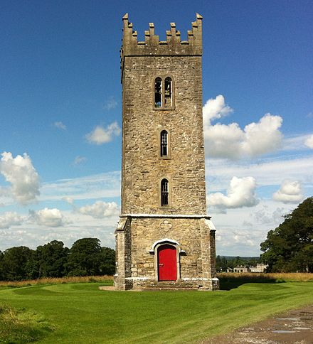 Tyrconnell Tower, Carton Demesne; likely built by Tyrconnell as a family mausoleum and chapel but never completed. Tyrconnell Tower Carton Maynooth Ireland.jpg