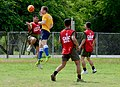 U.S. Sailors assigned to the guided missile destroyer USS John S. McCain (DDG 56) and Philippine marines compete in a soccer match in Subic Bay, Philippines, July 1, 2014, during Cooperation Afloat Readiness 140701-N-YU572-088.jpg