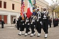 U.S. Sailors with the Naval Support Activity Naples Color Guard parade the colors during a Pearl Harbor remembrance ceremony at the base in Naples, Italy, Dec. 6, 2013 131206-N-QY759-111.jpg