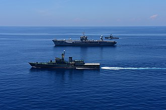 SLNS Samudura - Image: U.S. and Sri Lankan navy ships operate together. (26077070552)