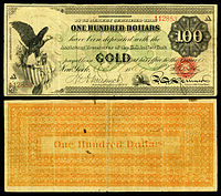 $100 Gold Certificate, Series 1865, Fr.1166c, with a vignette of an eagle and shield (left) and justice (bottom center).