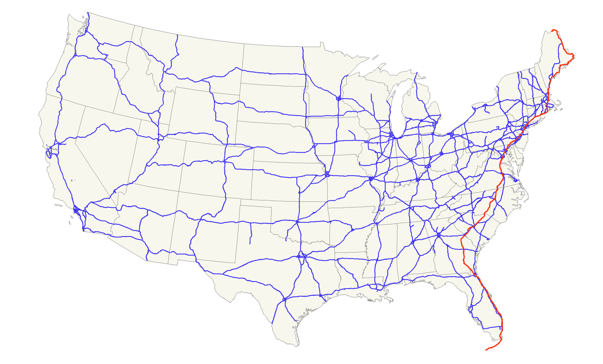 US Route Wikipedia - Us map with florida highlighted