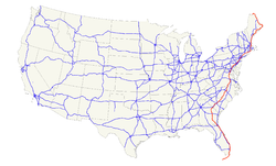 Karte des U.S. Highways 1