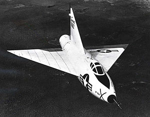 Convair XF-92 - Convair XF-92A in flight with bare metal scheme