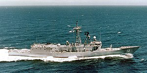 USS George Philip underway during sea trials in 1982