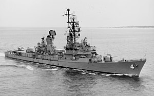 USS Lawrence (DDG-4) underway near Cape Henry on 3 May 1973 (NH 98402)