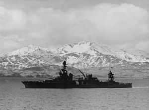 USS Louisville (CA-28) - USS Louisville at Aleutian Islands