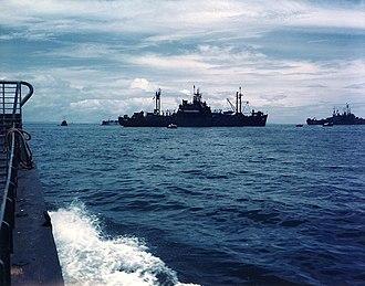 USS Teton - Teton in Subic Bay, July 1945.