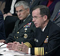 US Navy (USN) Naval Operations (USNO) Vice Chief Admiral (VCADM) Michael G. Mullen, right, answers questions during a hearing of the Senate Armed Services Sub-committee (SASS) on Personnel about the Department 040225-F-FC975-230.jpg