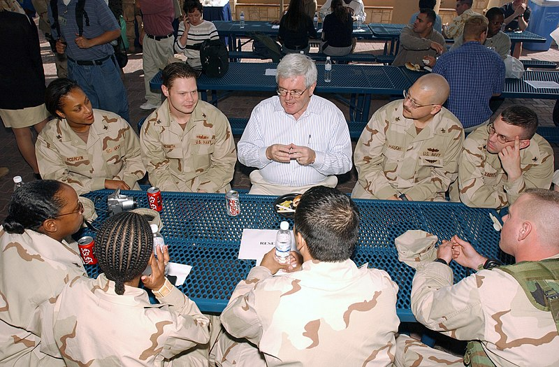 File:US Navy 030208-N-3349L-005 Mr. Newt Gingrich, from the Defense Policy Board talks with troops assigned to United States Naval Forces Central Command, during his visit to the Fifth Fleet Area of Responsibility.jpg