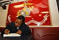 US Navy 030228-N-6077T-004 Interior Communications Electrician 2nd Class Shantel Alexander from Brooklyn, N.Y., prepares for her upcoming rating (promotion) exam in a quite area on the ship's mess decks.jpg