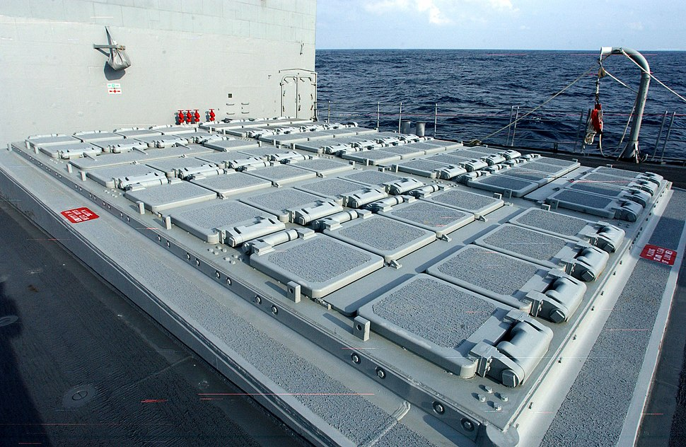 US Navy 030303-N-3235P-503 A topside view of the forward MK-41 Vertical Launching System (VLS) aboard the guided missile cruiser USS San Jacinto (CG 56)