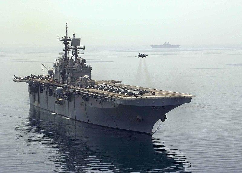 File:US Navy 030425-N-4008C-508 An AV-8B Harrier aircraft hovers above the flight deck of the amphibious assault ship USS Bataan (LHD 5).jpg