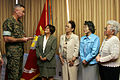 US Navy 051018-M-1878M-001 Deputy Commanding General of III Marine Expeditionary Force, U.S. Marine Corps Brig. Gen. Mastin M. Robeson, left, thanks members of the Okinawa chapter of Ikebana International.jpg
