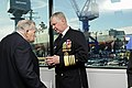 US Navy 081018-N-8273J-029 Chief of Naval Operations (CNO) Adm. Gary Roughead, right, speaks with retired Rear Adm. Wayne E. Meyer before the christening ceremony for Meyer's namesake Arleigh Burke-class guided-missile destroye.jpg