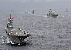 Hyūga-class helicopter destroyer - Image: US Navy 091117 N 6233H 098 The Japan Maritime Self Defense Force helicopter destroyer JS Hyuga (DDH 181) leads a formation of U.S. Navy and Japan Maritime Self Defense Force sips during Annual Exercise (ANNUALEX 21G)