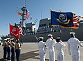 US Navy 101105-N-7948C-075 An honor guard stands at attention as the Arleigh Burke-class guided-missile destroyer Pre-Commissioning Unit (PCU) Jaso.jpg