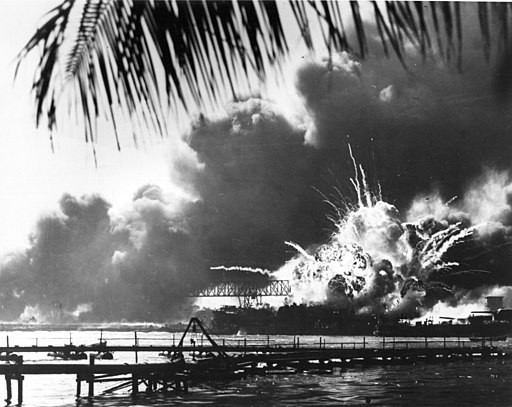 US Shaw exploding in Pearl Harbor