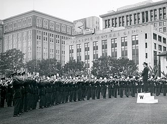 University of Wisconsin Marching Band - Performing in Los Angeles in 1962 during a trip to Pasadena, CA for the 1963 Rose Bowl