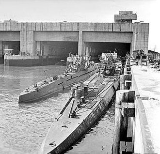 Submarine pen - Surrendered German U-boats moored outside the Dora 1 bunker in Trondheim, Norway, May 1945