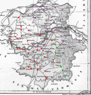 Ugocsa County - Ethnic map of the county with data of the 1910 census (see the key in the description).