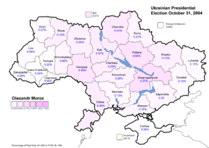 Oleksandr Moroz (politician) - Olexandr Moroz (First round) - percentage of total national vote