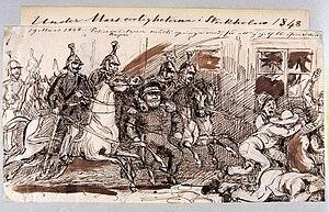 1848 in Sweden - Under Marsoroligheterna i Stockholm 1848. Fritz von Dardel - Nordiska Museet - NMA.0035335