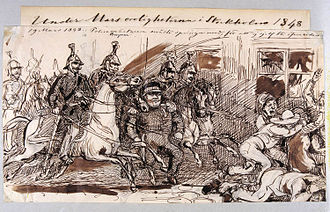 March Unrest - Depiction of the confrontation between republicans and police on 19 March 1848 by Fritz von Dardel