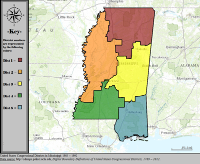 United States Congressional Districts in Mississippi, 1985 - 1992.tif