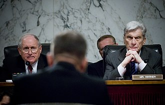 United States Senate Committee on Armed Services - Chairman Carl Levin (D-MI) and former Chairman John Warner (R-VA) listen to Admiral Mike Mullen's confirmation hearing before the Armed Services Committee to become Chairman of the Joint Chiefs of Staff in July 2007. The Armed Services Committee is the prime scene of discussion regarding U.S. military in the Senate.