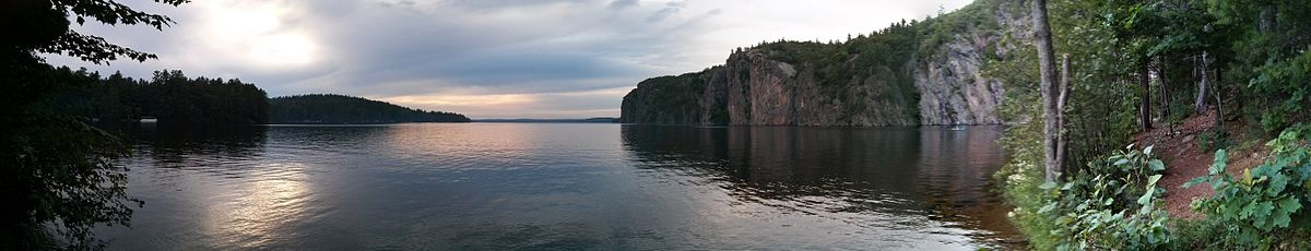 Upper Mazinaw Lake facing Mazinaw Rock from The Narrows, looking North.