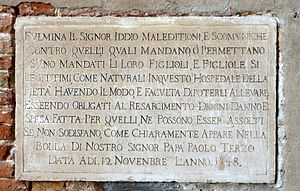 Excommunication - Details of the excommunication penalty at the foundling wheel. Venice, Italy.