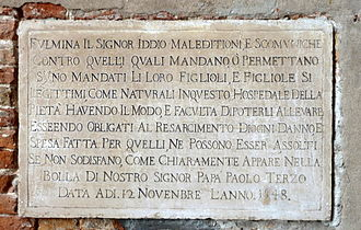 Excommunication - Details of the excommunication penalty at the foundling wheel in Venice, Italy