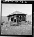VIEW OF WOOD FRAME TIN ROOF BUILDING, LOOKING SOUTHWEST - Jones Mine, Scofield, Carbon County, UT HAER UTAH,4-SCOF,1-8.tif