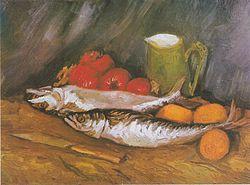 Vincent van Gogh: Still Life with mackerel, lemon and tomato