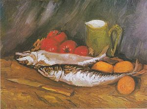Mackerel - Still life with mackerel, lemon and tomato, Van Gogh, 1886