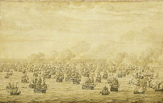 Third Anglo-Dutch War - The first battle of Schooneveld, 7 June 1673 by Willem van de Velde, the elder, painted c.1684.