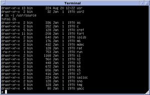 Version 6 Unix - Browsing through /usr/source on Version 6 Unix, running on SIMH