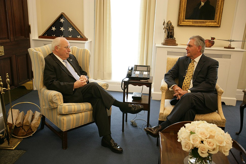 Vice President Cheney Talks with Rex Tillerson of Exxon Mobil Corporation in His West Wing Office