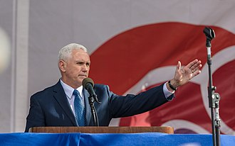 Pence speaks at the 2017 March for Life in Washington, D.C. Vice President Mike Pence addressing the March for Life (31864759963).jpg