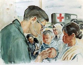 Civic action program - Image: Vietnam Combat Art CAT04Samuel E Alexander American Doctor Examines Vietnamese Child