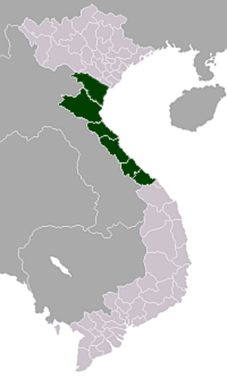 North Central Coast - Map showing location of the Bắc Trung Bộ (North Central Region) region in Vietnam