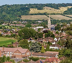 View towards Dorking from the Nower (geograph 5120040 by Ian Capper, cropped).jpg